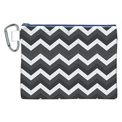 Chevron Dark Gray Canvas Cosmetic Bag (XXL)