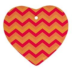 Chevron Peach Heart Ornament (2 Sides)