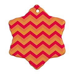 Chevron Peach Snowflake Ornament (2-Side)