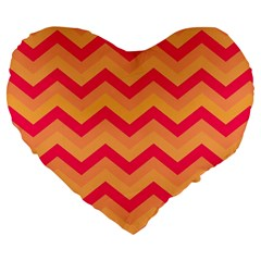Chevron Peach Large 19  Premium Flano Heart Shape Cushions
