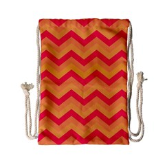 Chevron Peach Drawstring Bag (small)