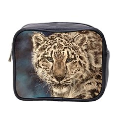 Snow Leopard Mini Travel Toiletry Bag (two Sides)