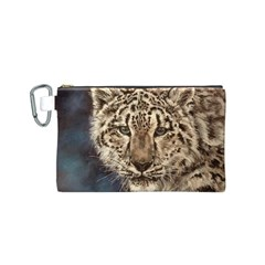 Snow Leopard Canvas Cosmetic Bag (Small)