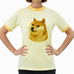 Dogecoin Women s Fitted Ringer T Shirts