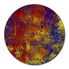 Abstract In Gold, Blue, And Red Round Mousepads