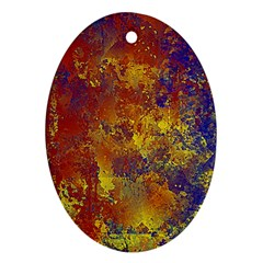 Abstract In Gold, Blue, And Red Ornament (oval)