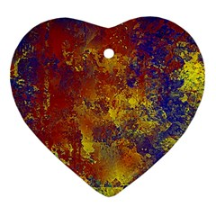 Abstract In Gold, Blue, And Red Ornament (heart)