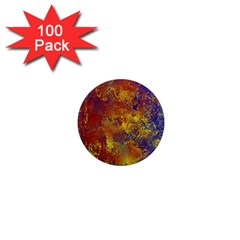 Abstract In Gold, Blue, And Red 1  Mini Magnets (100 Pack)