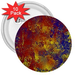 Abstract in Gold, Blue, and Red 3  Buttons (10 pack)