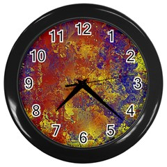 Abstract In Gold, Blue, And Red Wall Clocks (black)