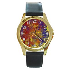 Abstract In Gold, Blue, And Red Round Gold Metal Watches