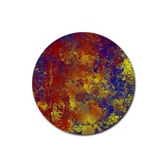 Abstract in Gold, Blue, and Red Rubber Round Coaster (4 pack)