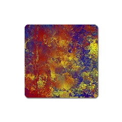 Abstract In Gold, Blue, And Red Square Magnet