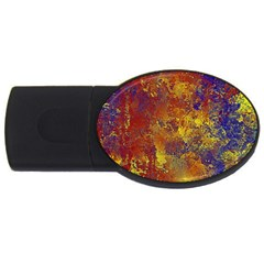 Abstract In Gold, Blue, And Red Usb Flash Drive Oval (2 Gb)
