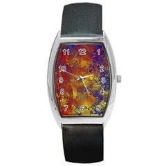 Abstract In Gold, Blue, And Red Barrel Metal Watches