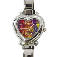 Abstract in Gold, Blue, and Red Heart Italian Charm Watch