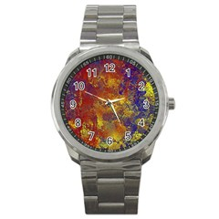 Abstract In Gold, Blue, And Red Sport Metal Watches