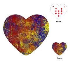 Abstract in Gold, Blue, and Red Playing Cards (Heart)