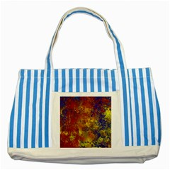 Abstract In Gold, Blue, And Red Striped Blue Tote Bag