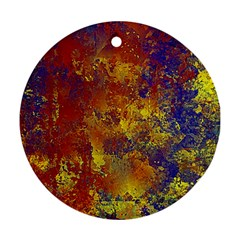 Abstract In Gold, Blue, And Red Round Ornament (two Sides)
