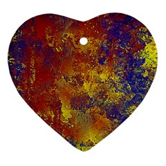 Abstract in Gold, Blue, and Red Heart Ornament (2 Sides)