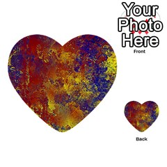 Abstract In Gold, Blue, And Red Multi Purpose Cards (heart)
