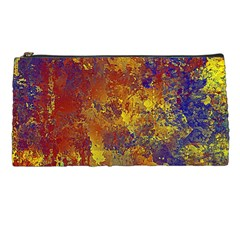 Abstract in Gold, Blue, and Red Pencil Cases