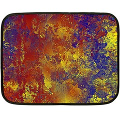 Abstract in Gold, Blue, and Red Double Sided Fleece Blanket (Mini)