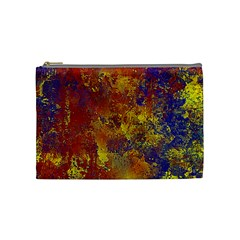 Abstract in Gold, Blue, and Red Cosmetic Bag (Medium)