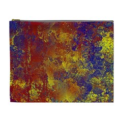 Abstract In Gold, Blue, And Red Cosmetic Bag (xl)