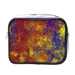 Abstract in Gold, Blue, and Red Mini Toiletries Bags