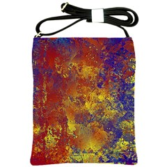 Abstract In Gold, Blue, And Red Shoulder Sling Bags