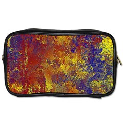 Abstract In Gold, Blue, And Red Toiletries Bags 2 Side