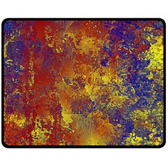 Abstract in Gold, Blue, and Red Fleece Blanket (Medium)