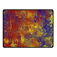 Abstract In Gold, Blue, And Red Fleece Blanket (small)
