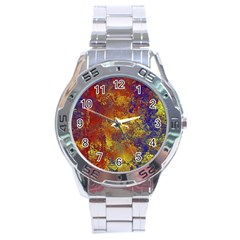 Abstract In Gold, Blue, And Red Stainless Steel Men s Watch
