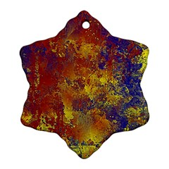 Abstract in Gold, Blue, and Red Snowflake Ornament (2-Side)