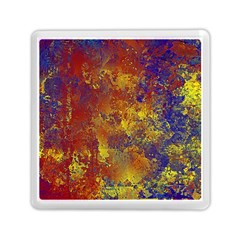 Abstract in Gold, Blue, and Red Memory Card Reader (Square)