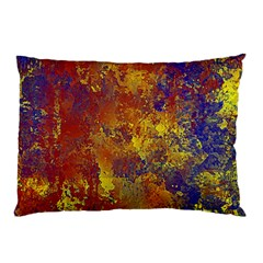 Abstract in Gold, Blue, and Red Pillow Cases (Two Sides)