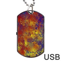 Abstract In Gold, Blue, And Red Dog Tag Usb Flash (one Side)