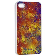 Abstract in Gold, Blue, and Red Apple iPhone 4/4s Seamless Case (White)