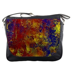 Abstract in Gold, Blue, and Red Messenger Bags