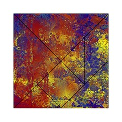 Abstract in Gold, Blue, and Red Acrylic Tangram Puzzle (6  x 6 )