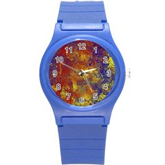 Abstract In Gold, Blue, And Red Round Plastic Sport Watch (s)