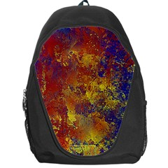 Abstract in Gold, Blue, and Red Backpack Bag