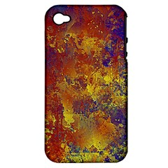 Abstract In Gold, Blue, And Red Apple Iphone 4/4s Hardshell Case (pc+silicone)