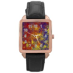 Abstract in Gold, Blue, and Red Rose Gold Watches