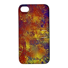 Abstract in Gold, Blue, and Red Apple iPhone 4/4S Hardshell Case with Stand