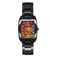 Abstract in Gold, Blue, and Red Stainless Steel Barrel Watch