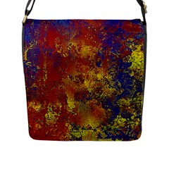 Abstract In Gold, Blue, And Red Flap Messenger Bag (l)